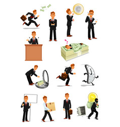 Businessman character set business people design vector