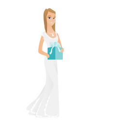 Woman in white bridal dress holding gift box vector