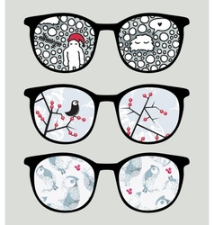 Retro sunglasses with cold winter reflection vector