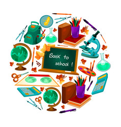 Back to school poster of study supplies vector