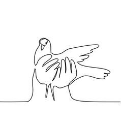 Pigeon in hands logo vector
