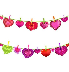 Color hearts on clothespegs vector