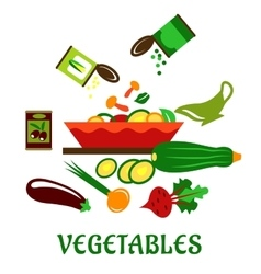 Salad bowl with fresh chopped vegetables vector