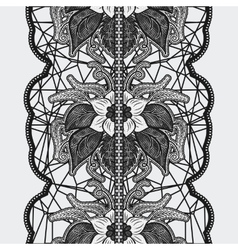 Black seamless lace ribbon on a light background vector image
