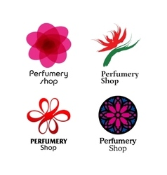 Red green and purple perfumery brand logos set vector