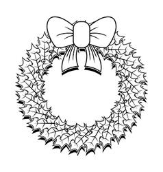 Christmas wreath outline vector