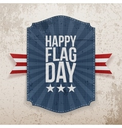 Happy flag day realistic label with ribbon vector