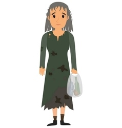Homeless woman in dirty old clothes vector