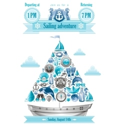 Sea summer travel banner invitation design with vector