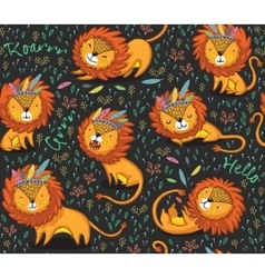 Funny lions seamless pattern with black vector