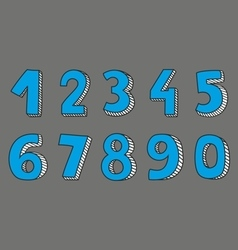 Blue numbers isolated on grey background vector