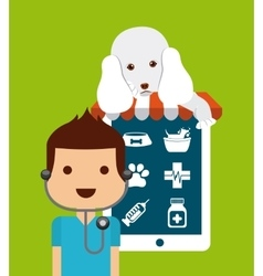 Tablet and veterinarian cartoon pet shop design vector