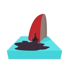 An oil tanker accident with an oil slick icon vector