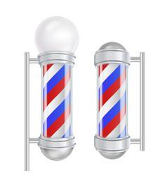 barber shop pole red blue white stripes vector image