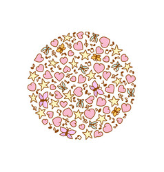 cartoon round from pink heart notes stars vector image vector image