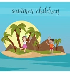 Children sea vacation girl and boy in the beach vector