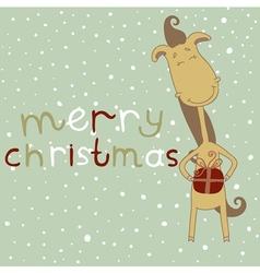 Christmas card with cartoon horse vector