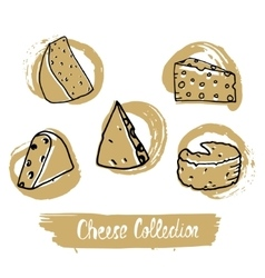 Circular logo with hand drawn cheese in vintage vector