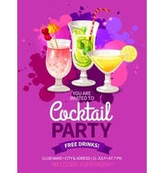 Cocktails party flyers vector