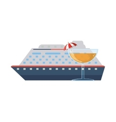Cruise ship and cocktail icon vector