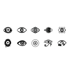 eyes icon set simple style vector image vector image