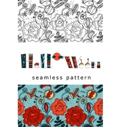 Halloween pattern design in doodle style vector