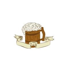 Medieval Beer Mug Foam Drawing vector image