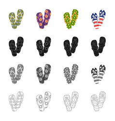Multi-colored shoes beach slippers different vector