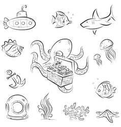 Octopus and the chest vector image