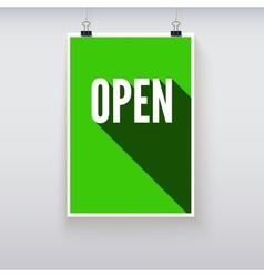 Open shopping door signs board vector image vector image