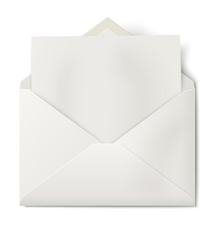 Opened envelope with sheet of paper inside vector image