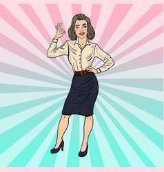 pop art successful business woman gesturing ok vector image