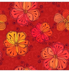 Red doodle flowers seamless pattern vector