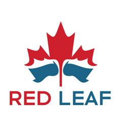 Red maple leaf and water logo design vector