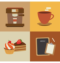 set of coffee flat design elements vector image