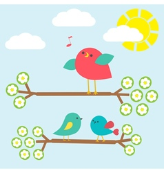 Set of cute birds vector