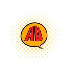 Speech buble with ad letters icon in comics style vector