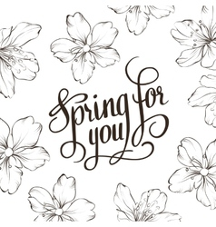 Spring for you Calligraphic text vector image vector image