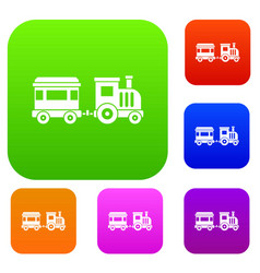 Toy train set collection vector