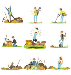 Treasure hunting people in search of treasure vector