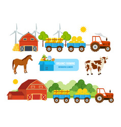 Warehouse farmland pets conveying hay wheat vector