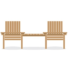 Wooden Garden Chairs With Table vector image vector image