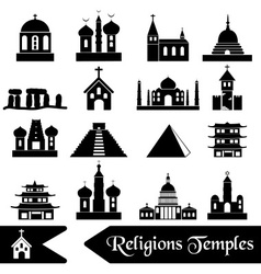 World religions types of temples icons eps10 vector