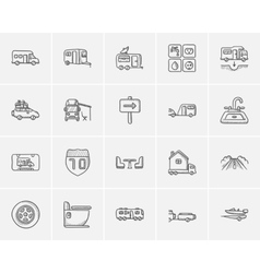 Travel and holiday sketch icon set vector