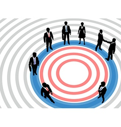 Business people on targeted marketing circle vector