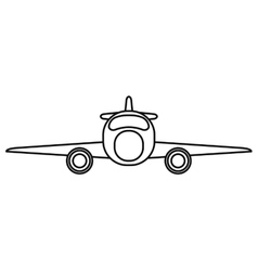 Jet airplane private transport front view outline vector