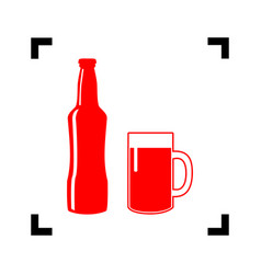 Beer bottle sign  red icon inside black vector