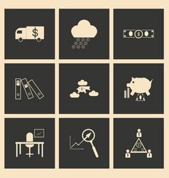 Flat in black and white concept business icons vector