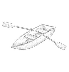 Boat with paddles hand drawn sketch vector