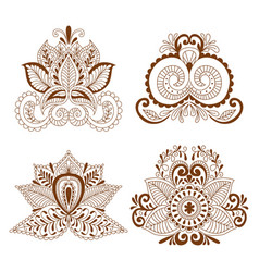 Decorative element henna style collection vector